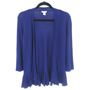 Chicos 0 Cardigan Sweater Womens 4 Open Front Blue